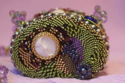 Beaded Gemjar Purse:  Upcycled Jelly Belly Tins