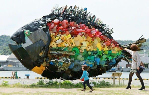 Giant Recycled Trash Fish Recycled Art