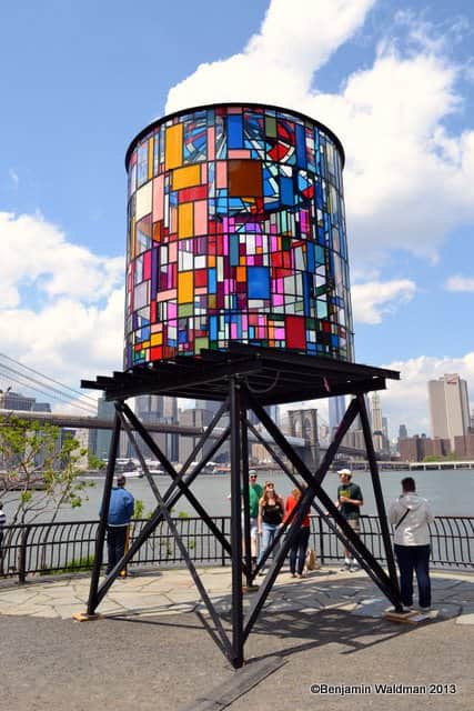 Watertower from One Thousand Scraps of Colorful Plexiglas and Steel Interactive, Happening & Street Art Recycled Art Recycled Glass