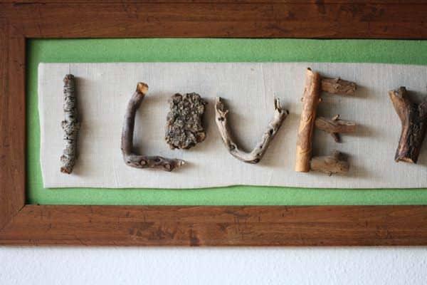 I Love You (Twig Art) Recycled Art Wood & Organic