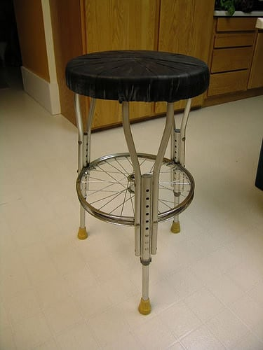 Stool Made Of Crutches And Bike Parts Via Ideas Inspiring Innovation