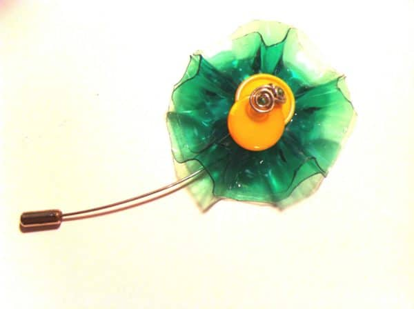 Stick Pin Made from Plastic Soda Bottles and Reclaimed Buttons