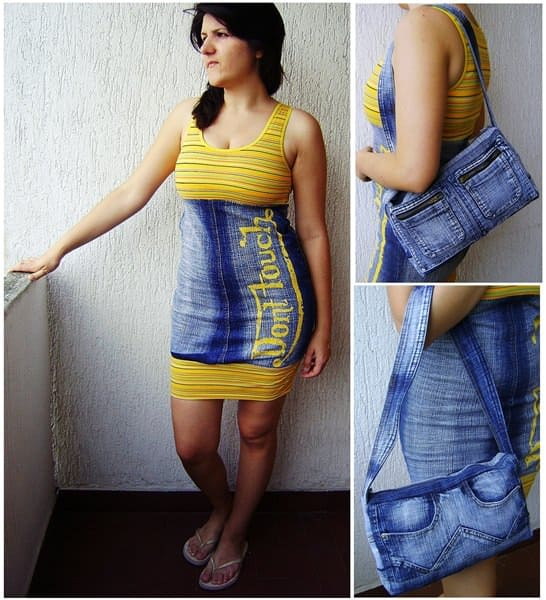 Recycled Jeans Don't Touch Dress and Notebook Bag Clothing Do-It-Yourself Ideas