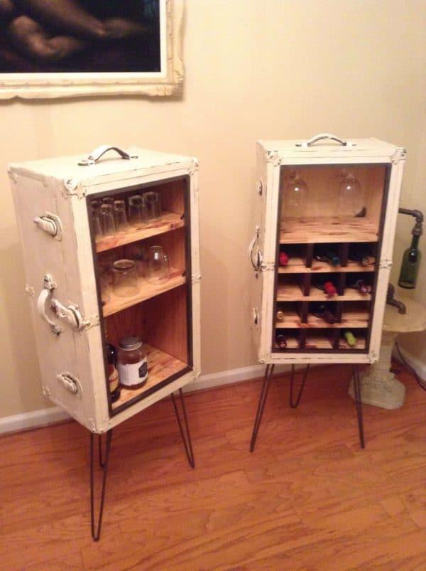 Matchin Steamer Trunk Wine and Liquor Cabinets • Recyclart