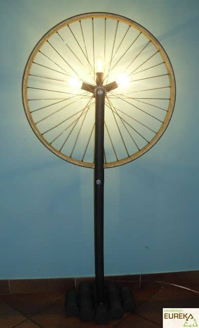 Floor Lamp from Bike Wheel Lamps & Lights Upcycled Bicycle Parts