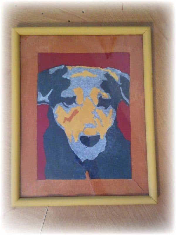 Abstract Dog Portrait from Upcycled T-shirts Clothing Recycled Art