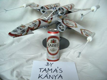 Luke Skywalker Spaceship and Aircrafts Made from Beer Cans