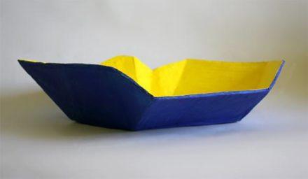 Handmade Origami Inspired Paper Mache Basket