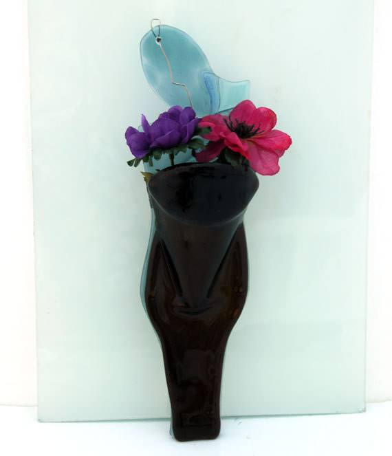 Wall Vase: Eco Friendly Melted Recycled Beer Bottle Accessories Recycled Glass