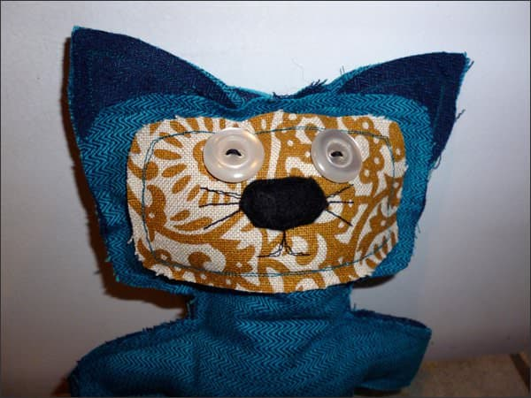 Stuffies Made From Fabric Samples & Old Buttons Clothing