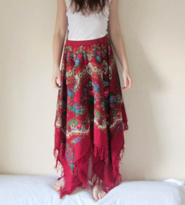 Gipsy Style Skirt Made from Folk Scarf Clothing