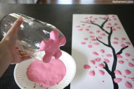 Cherry Blossom Art from Recycled Plastic Bottles