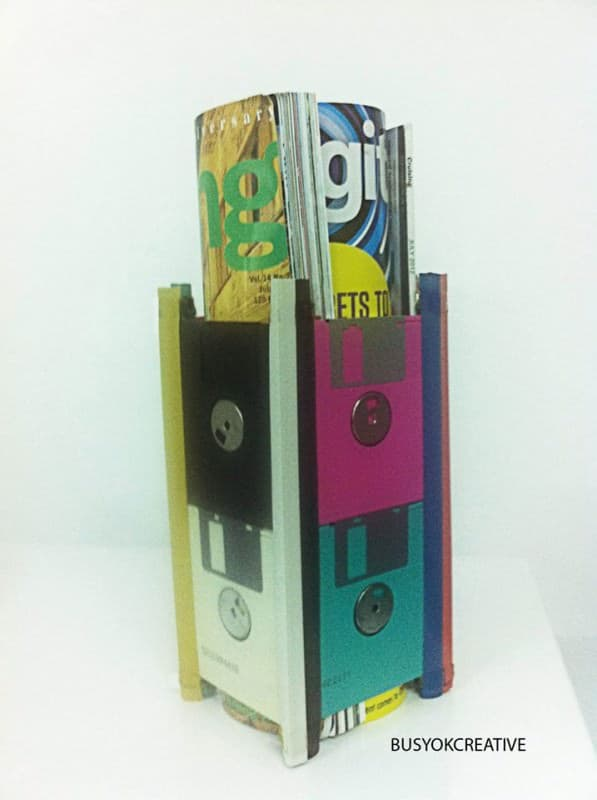 Floppy Disks Magazine Holder Do-It-Yourself Ideas Recycled Electronic Waste