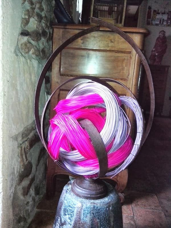 Strapping Metal, Colored Rattan and Orchid Recycled Art Recycling Metal