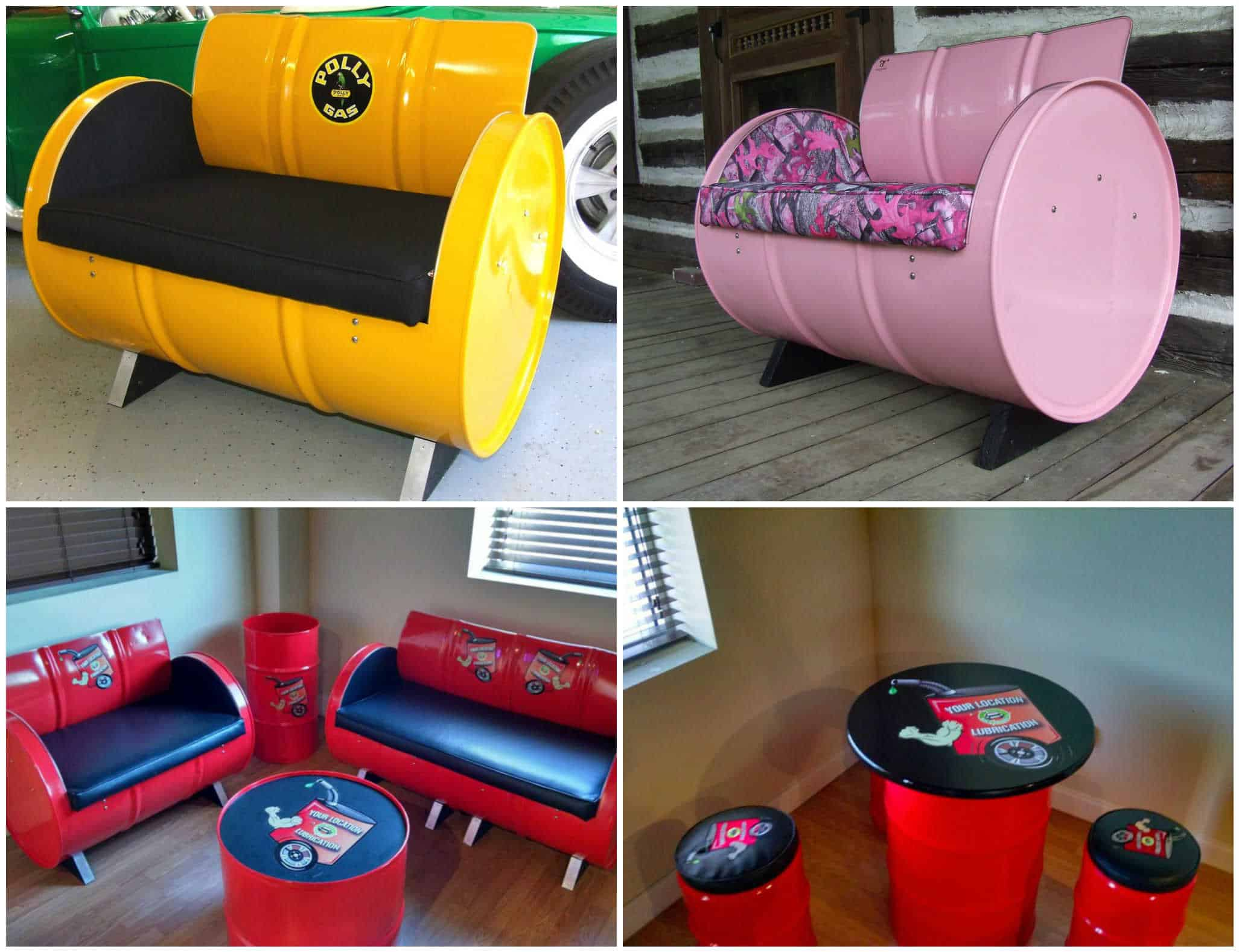 55 Gallon Steel Drums Upcycled Into Furniture Recyclart
