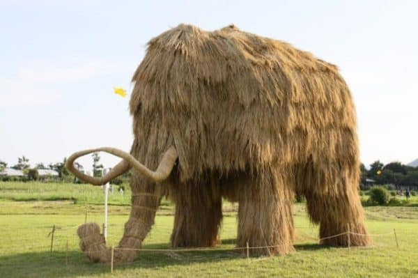 Giant Beasts at the Rice Straw Art Festival Recycled Art