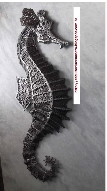 Seahorse Made with Bicycle Chains Recycled Art Upcycled Bicycle Parts