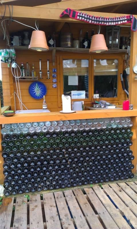 Bar Counter Made From Empty Glass Bottles Recyclart