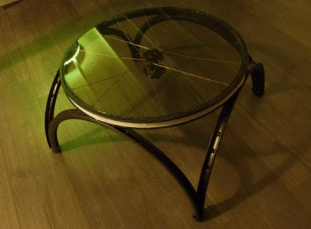 Coffee Table Made out Of Repurposed Bike Wheels