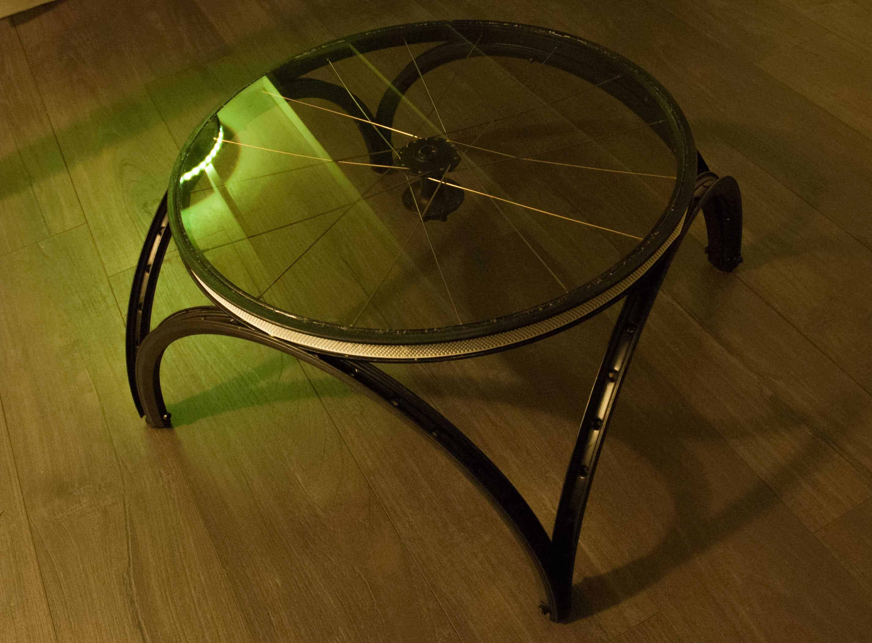 Coffee Table Made out Repurposed Bike Wheels • Recyclart