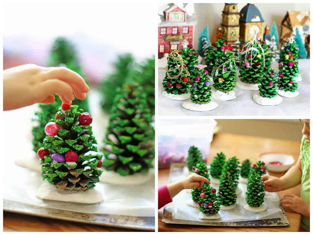 easy recycling kids project pine cone christmas trees u2022 recyclart
