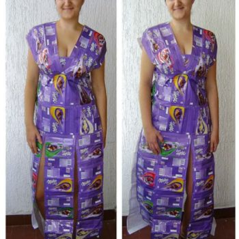 Dress Made From Upcycled Milka Chocolate Packagings