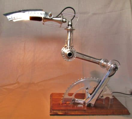 """Recycled Bike Part Lamps """"velolumiere"""""""