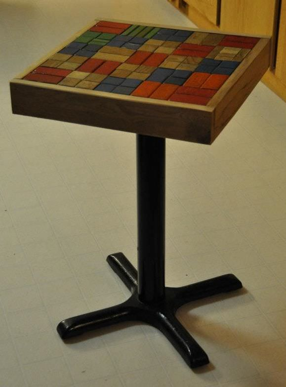 Toy Building Blocks Turned Into End Table Recycled Furniture Wood & Organic