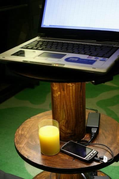 Upcycled Cable Spool Into Table With Led Recycled Furniture