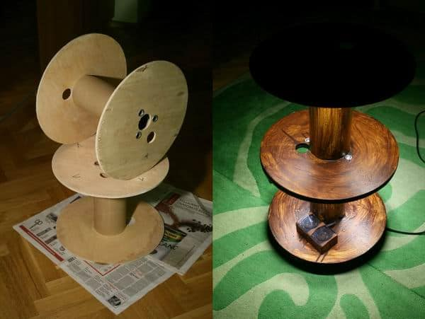 Upcycled Cable Spool Into Table With Led Recyclart