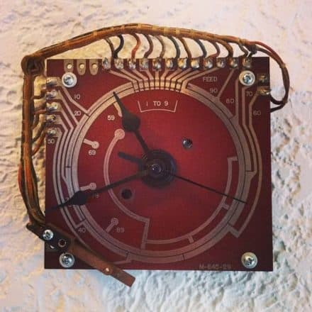 Pinball Stepper Unit Upcycled Wall Clock