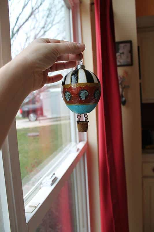 Hot Air Balloon Ornament From Found Objects Wood & Organic
