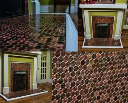Fireplace Decorated With 5,400 Pennies