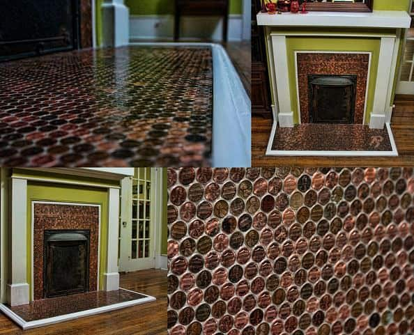 Fireplace Decorated With 5,400 Pennies Home Improvement