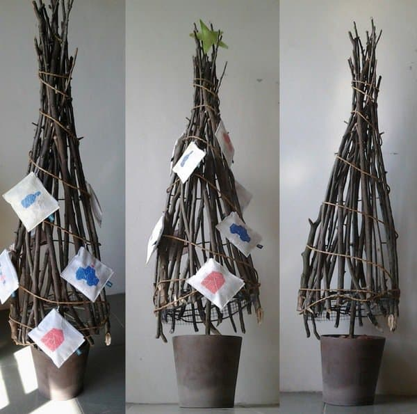 Christmas Tree Made With Wood Branches Do-It-Yourself Ideas Wood & Organic