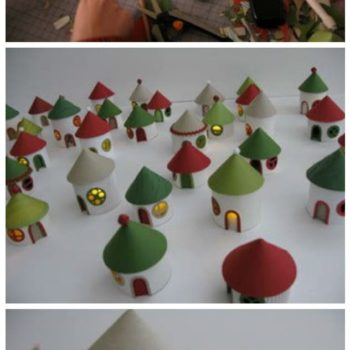 Christmas Village From Toilet Paper Rolls