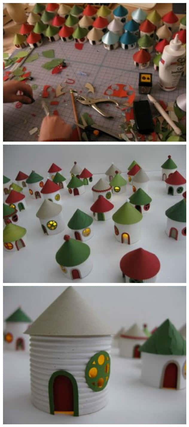 Christmas village from toilet paper rolls recyclart for Diy paper towel roll crafts