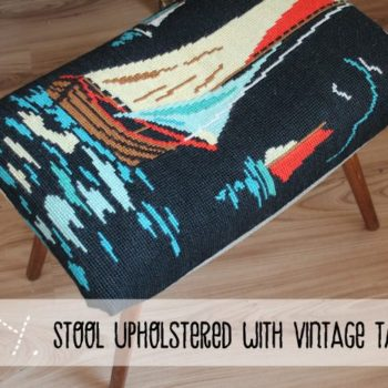 Stool upholstered with vintage tapestry