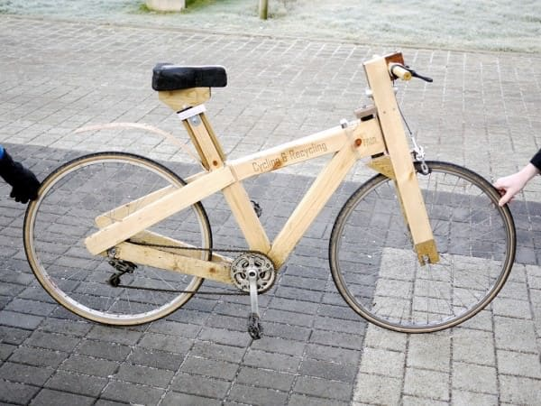 Cycle- Recycle: Wooden Bike Upcycled Bicycle Parts Wood & Organic