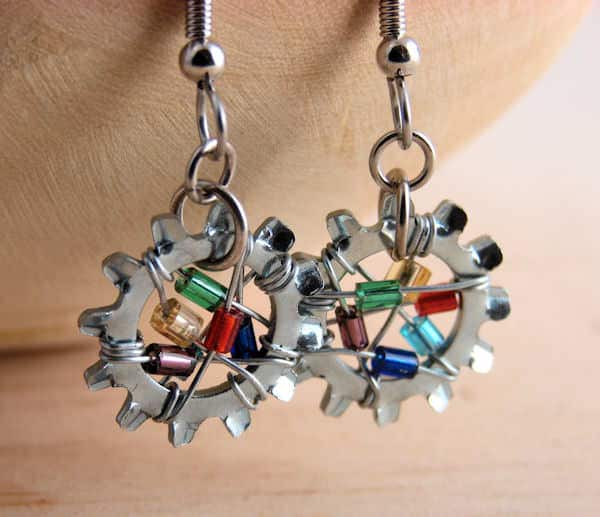 Bead-wrapped-lock-washer-earrings-for-recycled-art