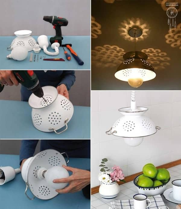 Diy : Repurposed Colander Pendant Lights Do-It-Yourself Ideas Lamps & Lights