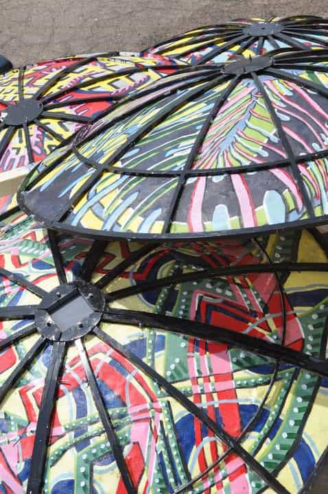 Satellite Dishes Repurposed into Patio Cover Recycled Art Recycling Metal