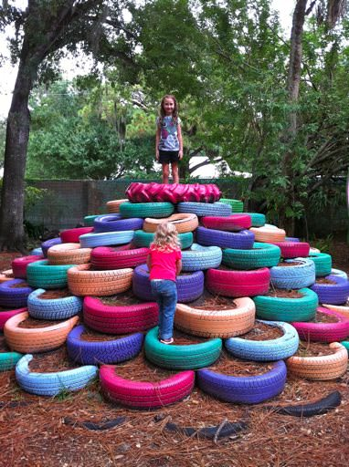 Tire Pile Playground in Sarasota Children's Garden Do-It-Yourself Ideas Recycled Rubber
