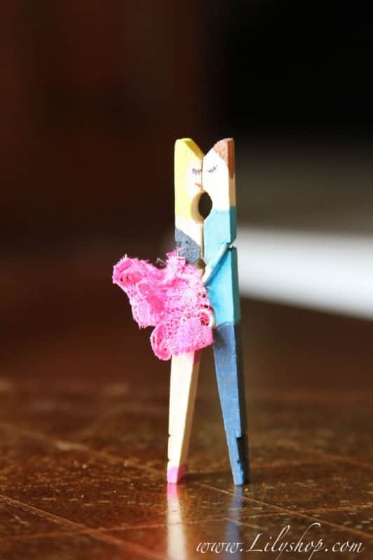 Kissing Couples Made with Clothespin Recycled Art