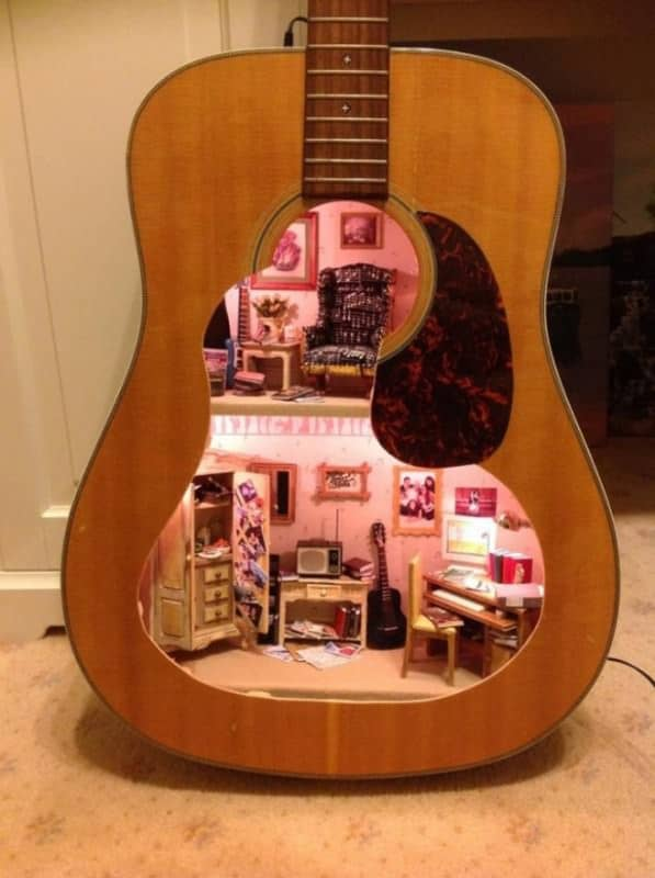 Upcycled Guitar Into Doll House Recycled Art