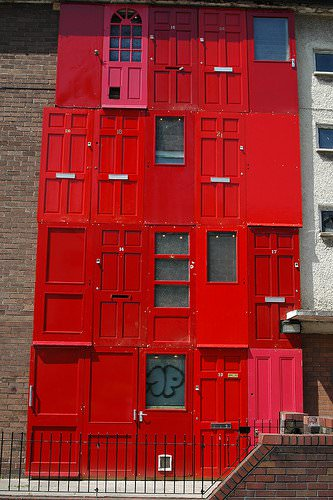 Red House With Salvaged Doors in Liverpool Home Improvement