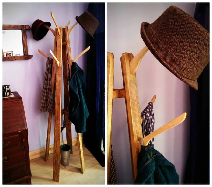 Coat and Hat Stand: Reclaimed Wood with Repurposed Coat