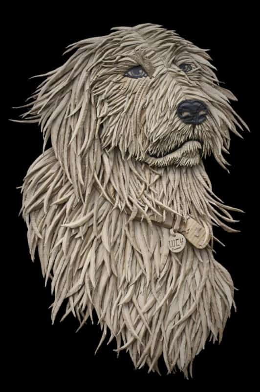 Dog Portrait from Corrugated Cardboard by Ali Golzad Recycled Art Recycled Cardboard