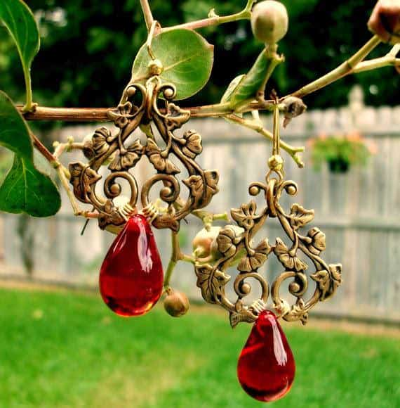 Brass-Filigree-Red-Briolette-Earrings
