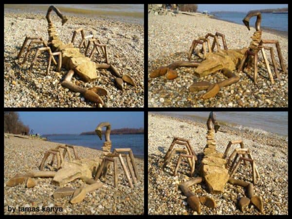 Driftwood and Stones Art by Tamas Kanya Recycled Art Wood & Organic